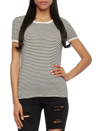 Short Sleeve Striped Tee with Contrast Trim,WHT-BLK,large