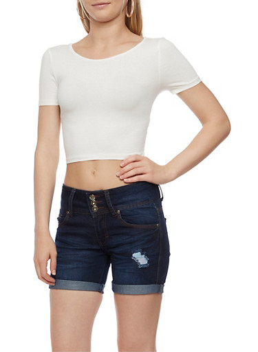 Short Sleeve Crop Top with Criss Cross Back,WHITE,large