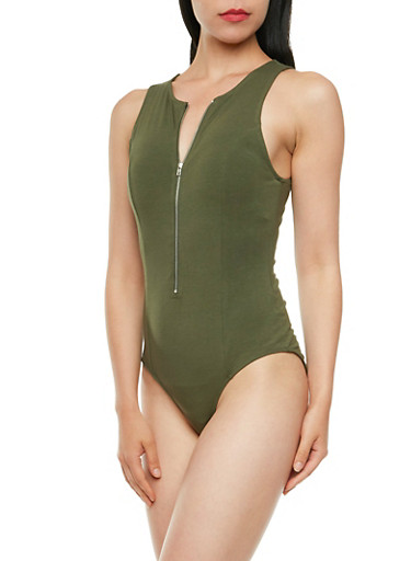 Sleeveless Bodysuit with Front Zipper,OLIVE,large