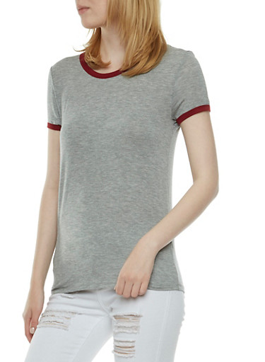 Basic Ringer T-Shirt,HEATHER BURGUNDY,large
