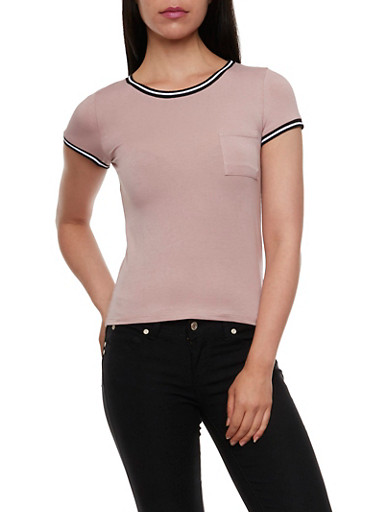 Pocket Tee with Striped Trim,MAUVE,large