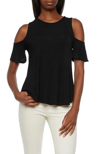 Jersey Cold Shoulder Top,BLACK,large