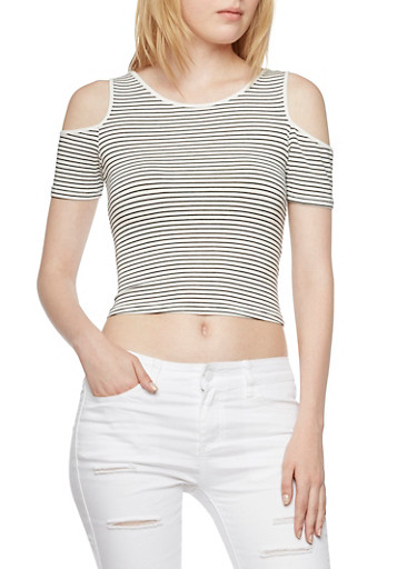 Striped Cold Shoulder Crop Top,WHT-BLK,large