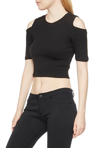 Rib-Knit Crop Top with Cold Shoulders,BLACK,large