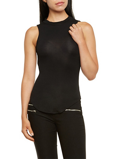 Knit Tank Top with Cutouts,BLACK,large