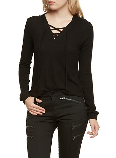 Hooded Sweater with Lace Up V Neck,BLACK,large