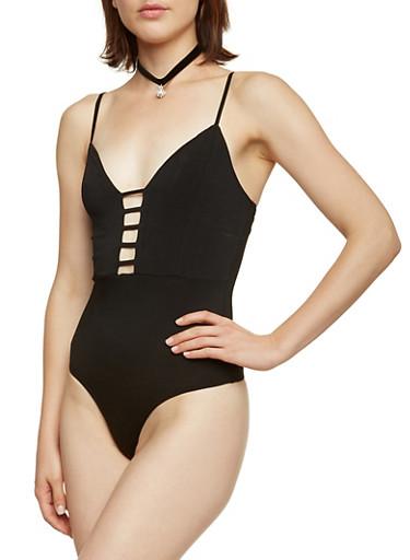 Bodysuit with Laser-Cut Neckline,BLACK,large