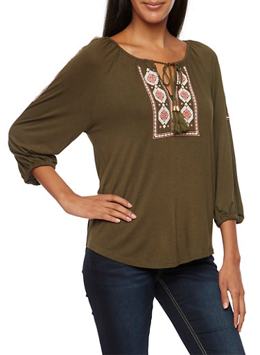 Embroidered Peasant Top with Three Quarter Sleeves,OLIVE,large