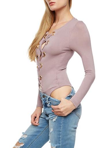 Large Grommets Lace Up Bodysuit,WASH MAUVE,large
