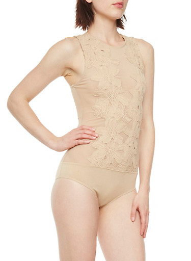 Sheer Mesh Bodysuit with Floral Crochet Detail,TAUPE,large
