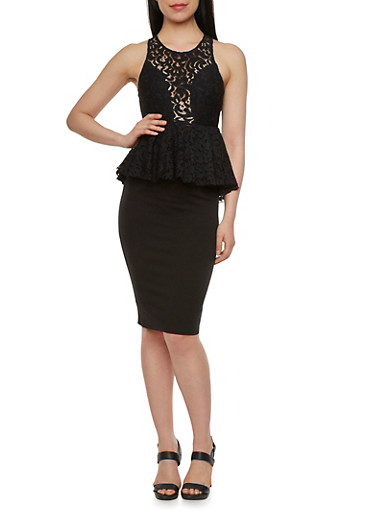 Sleeveless Lace Peplum Top,BLACK,large