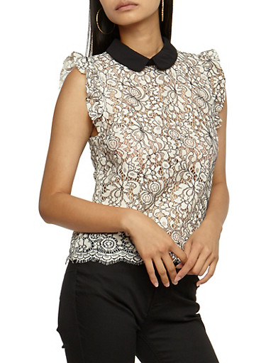 Two Toned Lace Sleeveless Top,IVORY,large