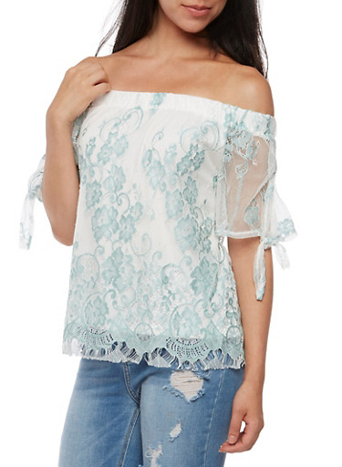 Off the Shoulder Lace Tie Sleeve Top,MINT,large