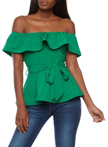 Off the Shoulder Tie Waist Peplum Top,GREEN,large