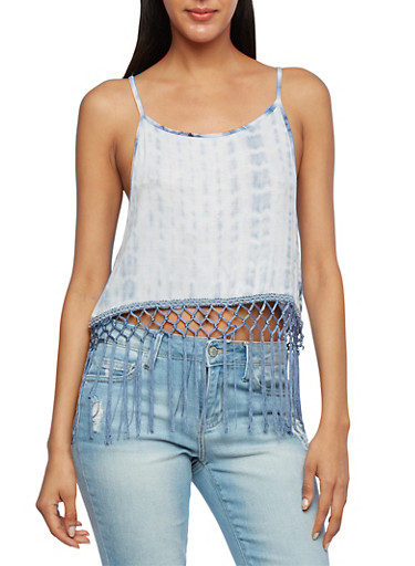 Tie-Dye Crop Top with Knitted-Fringe Hem,NAVY,large