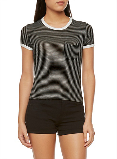 Striped Top with Chest Pocket,BLACK/WHITE,large