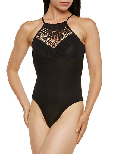 Halter Bodysuit with Crochet Front,BLACK,large