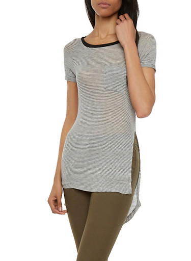 Striped T-Shirt with Side Slits,HEATHER/BLACK,large