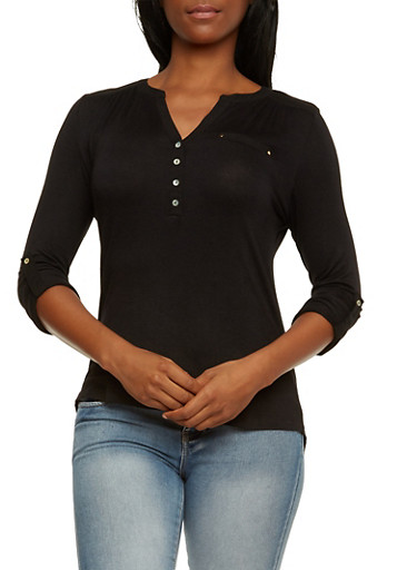 Knit Top with Button-Cuff Sleeves,BLACK,large