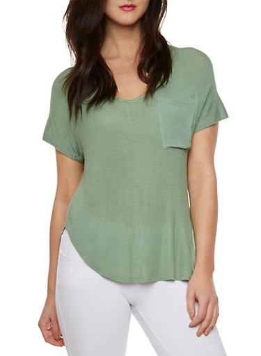 Knit High Low Top with Seam Detail,OLIVE,large