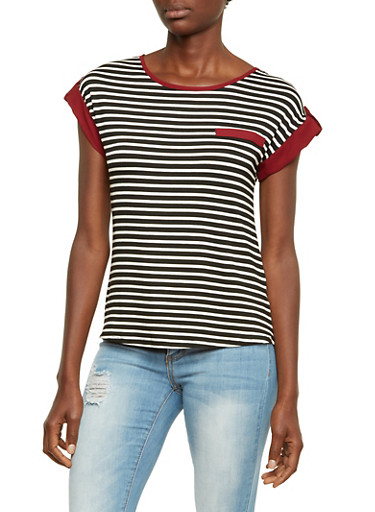 Striped Top with Contrast Trimmings,BLACK/WHITE/BURG,large