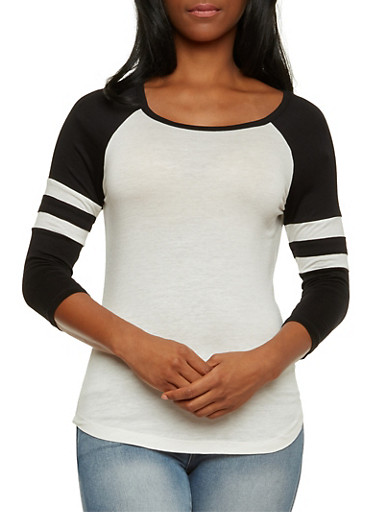 Jersey Top with Atheletic Striped Raglan Sleeves,BLACK,large