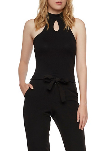 Knit Tank Top with Mock Neck and Keyhole Accents,BLACK,large