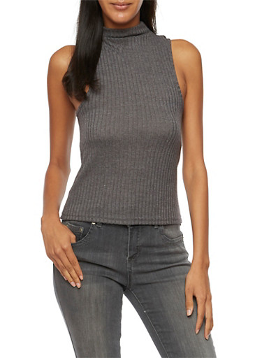 Mock Neck Sleeveless Ribbed Top,CHARCOAL,large