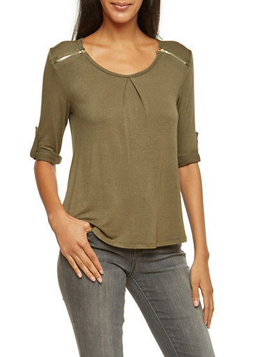 Scoop Neck Top with Zipper Details,OLIVE,large