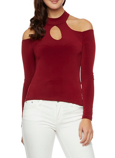 Cold Shoulder Top with Mock Neck and Cutouts,BURGUNDY,large