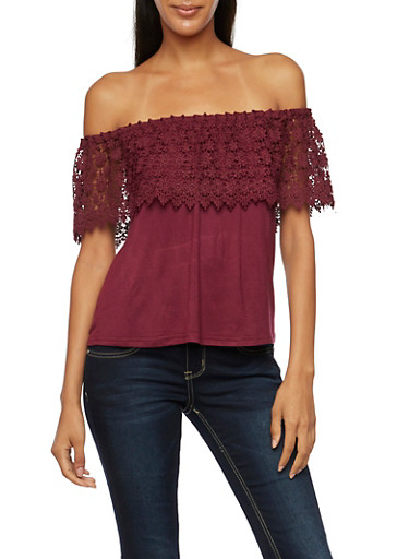 Off the Shoulder Top with Crochet Paneling,WINE,large