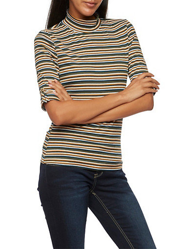 Striped Ribbed Top with Mock Neck,OLIVE,large