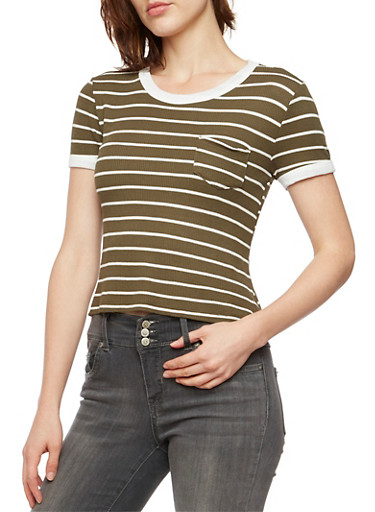 Striped Ringer T-Shirt in Thermal Knit,OLIVE,large