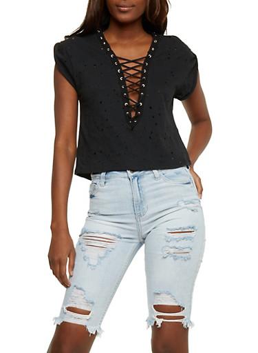 Lasercut Lace Up T Shirt,BLACK,large