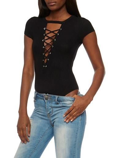 Lace Up Rib Knit Bodysuit,BLACK,large