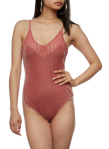 Velvet Bodysuit with Mesh Shadow Stripe Trim,MAUVE,large