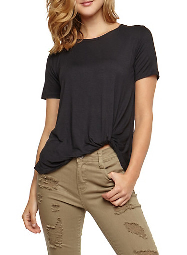 Short Sleeve Solid Faux Tie Top,BLACK,large
