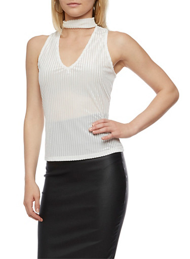 Velvet Shadow Stripe Choker Top,WHITE,large