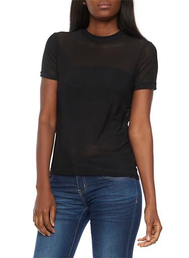 Short Sleeve Mesh T Shirt,BLACK,large