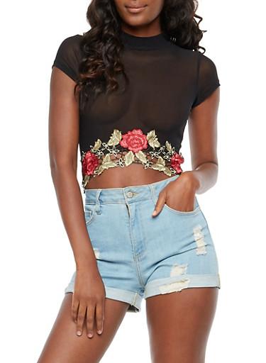 Floral Applique Mesh Crop Top,BLACK/RED,large