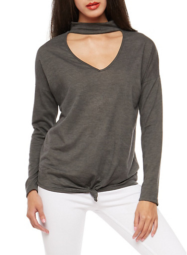 Knot Front Choker Neck Top,CHARCOAL,large