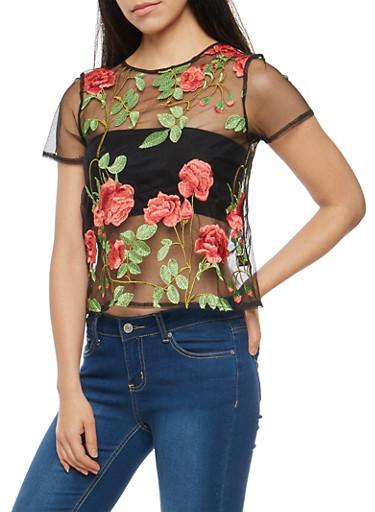 Floral Embroidered Mesh T Shirt,BLACK MAUVE,large