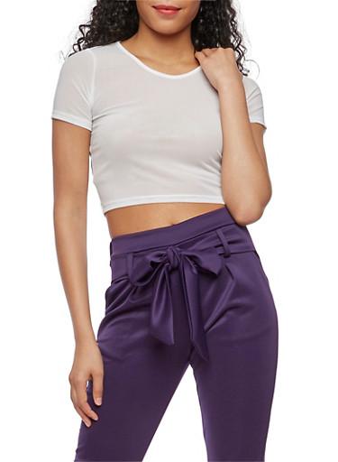 Short Sleeve Mesh Crop Top,WHITE,large