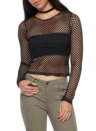 Long Sleeve Fishnet Top,BLACK,large