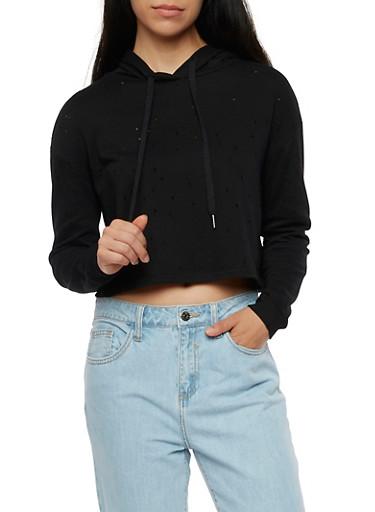 Hooded Laser Cut Sweatshirt,BLACK,large