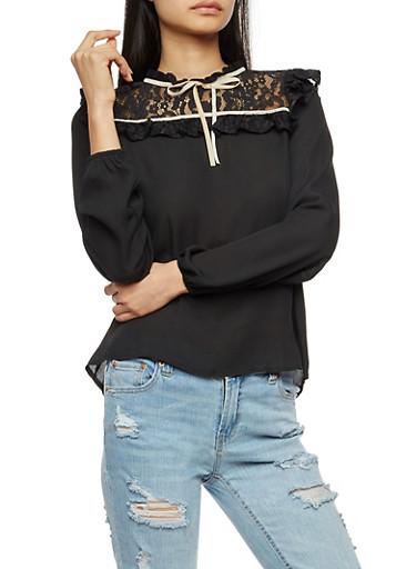 Floral Lace Yoke Crepe Knit Mock Neck Blouse,BLACK WHITE,large
