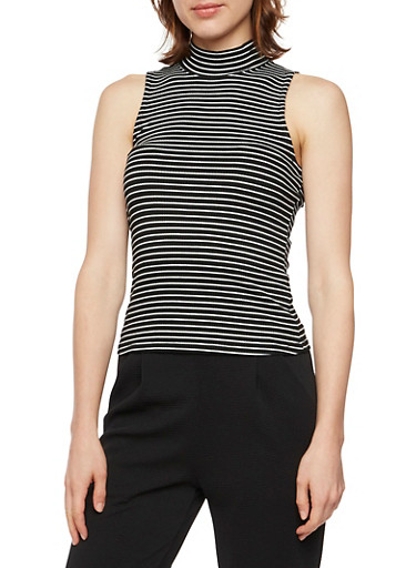 Sleeveless Mock Neck Top with Stripes,BLACK/WHITE,large