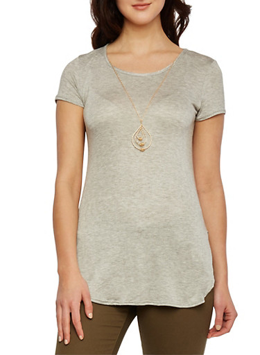 Shirttail Top with Necklace,HEATHER,large