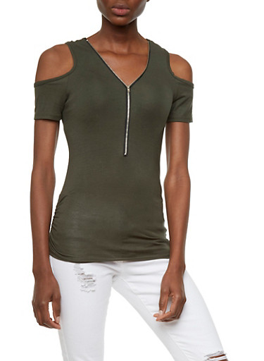 Zipper Neck Cold Shoulder Top with Ruched Sides,OLIVE,large
