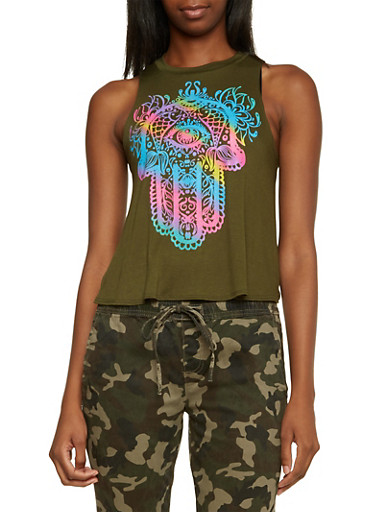 Swing Crop Top with Hamsa Graphic,OLIVE,large